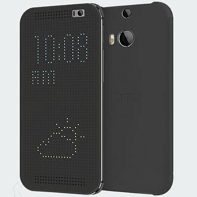 New Original HTC One M8 Dot View Warm Black Dark Gray Flip Cover Shell Case
