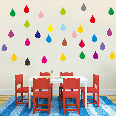 Rainbow Raindrop Confetti Wall Stickers, nursery, child, teen, home, rain, art