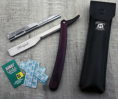 Men's Shaving Shavette/Cut throat Razor In MAROON With Leather Pouch+Blade. HIM