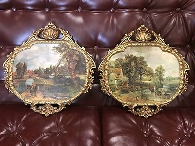 Vintage Retro Peerart French Louis Gold Frame Arch Bevelled Wall Hall Art Pair