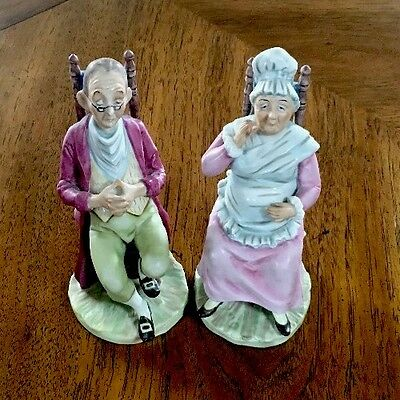 Vintage Grandma & Grandpa Figurines In Rocking Chairs Excellent Cond.