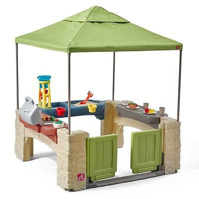 Patio with Canopy All Around Step2 Kids Toddlers Toys Grill Water Sand Cook New