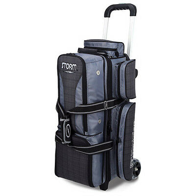Storm Rolling Thunder 3-Ball Roller Bowling Bag Charcoal Plaid/grey/black