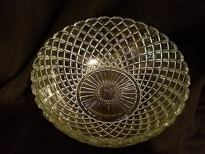 Hocking Glass Waterford Waffle Crystal Large Berry Bowl