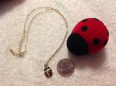 """Ladybug Pendant on Necklace with red and black velvet hinged case on 9"""" Chain"""
