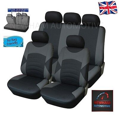 Peugeot 308 Sw Leather Look Car Seat Cover Full Set Black / Grey