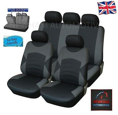 Mitsubishi Shogun Pinin 00-05 Leather Look Car Seat Cover Full Set Black / Grey