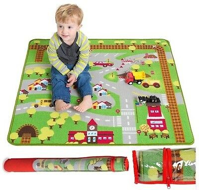 "Cars Play Rug Floor Mat 39"" x 35"" Children Crawling Carpet Baby Kids Road Rugs"