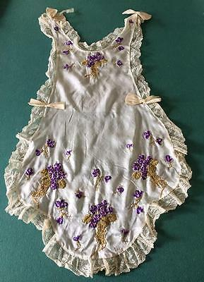 Fabulous Antique Silk Pinafore w Ribbonwork Violets, Embroidery & Lace Trim
