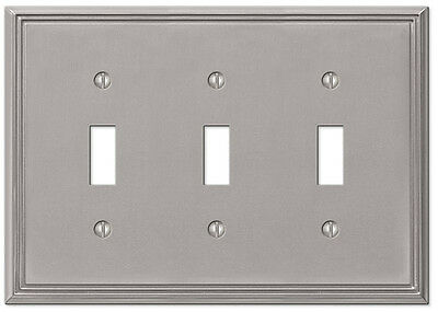 Metro Line Brushed Nickel Triple Toggle Switchplate Wallplate By Amerelle