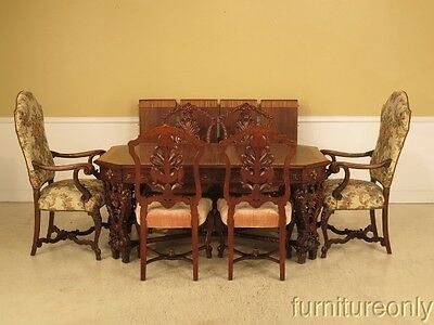 F28764/28765: Vintage 1930 s Heavily Carved Walnut Dining Table & Chairs