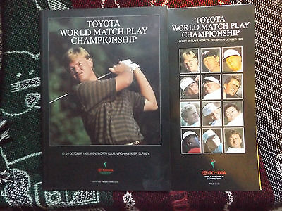1996 Toyota World Matchplay Golf Programme & Order Of Play Card - Wentworth