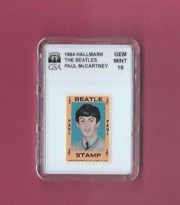 Paul Mccartney 1964 Hallmark Stamp  Beatles Gsa Slabbed Graded Gem Mint 10