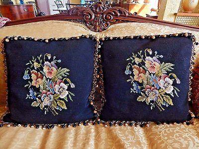Preowned Pair Of Pansy Needlepoint Feather Pillows Black Background 17 X 17