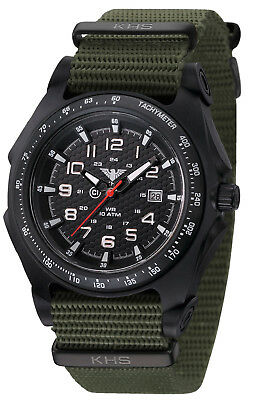 KHS Tactical Police Watches Sentinel Analog C1 Light Green Army Band KHS.SEAB.NO