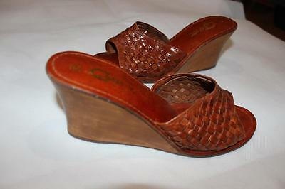 Vintage 1970s Indian WOVEN LEATHER BOHEMIAN WEDGES Hippy Mint 5 / 36 Gypsy Boho