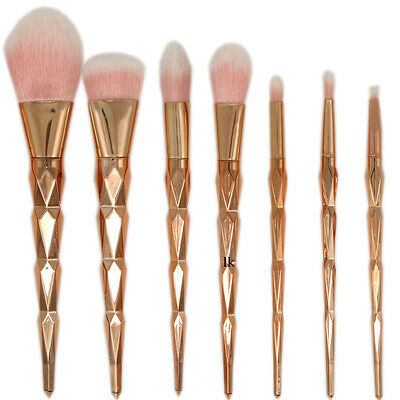 7pcs Pro Unicorn Face Eyeliner Brush Thread Cosmetic Make Up Brushes Sets Gold