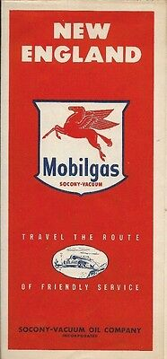 1949 SOCONY-VACUUM OIL MOBILGAS Road Map NEW ENGLAND Massachusetts Connecticut