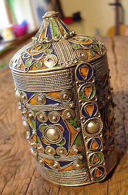 Moroccan  tarnished large blue enamel bracelet box cuff with point