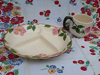 Vintage Franciscan Desert Rose Childs Dish 3-Way Divided Tray, Made From 1958-60