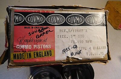 Covmo Pistons to Sunbeam Rapier Himman Minx  Std size. New Old Stock