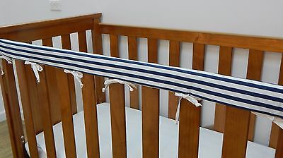 SET OF TWO Baby Cot Rail Cover Crib Teething Pad - Navy and White Stripes