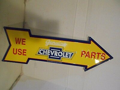 WE USE GENUINE CHEVROLET PARTS ARROW ADVERTISING Sign