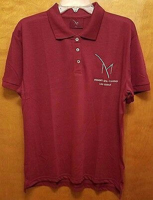 NEW M Resort Casino Las Vegas Mens LARGE Burgundy Polo Golf Shirt