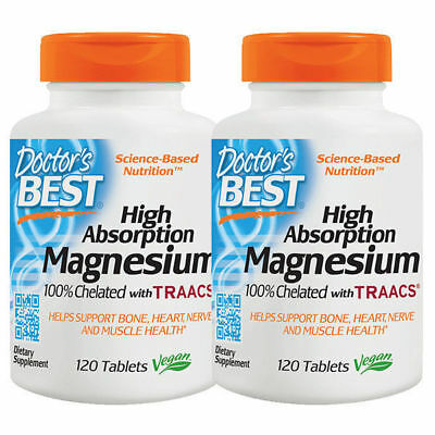 Doctor's Best TWIN PACK Magnesium Chelated 100mg 120 Tabs, Total 240 Tabs, High