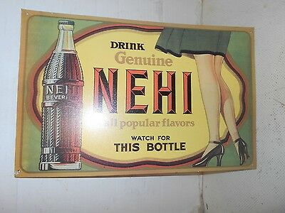 TIN DRINK GENUINE NEHI BEVERAGES advertising DRINK sign