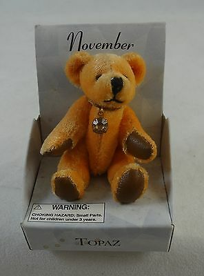 """Russ November Bear of the Month #1861 Faux Brown Topaz 2"""" Sitting Jointed NIB"""