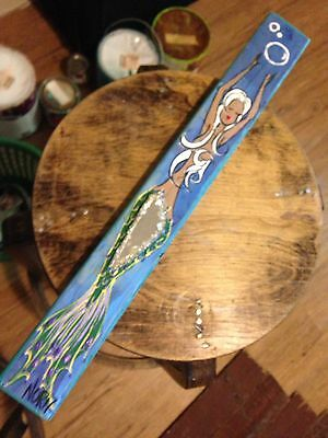 NOR Mermaid W/ White Hair & Aqua Tail Folk Art Painting on Wood