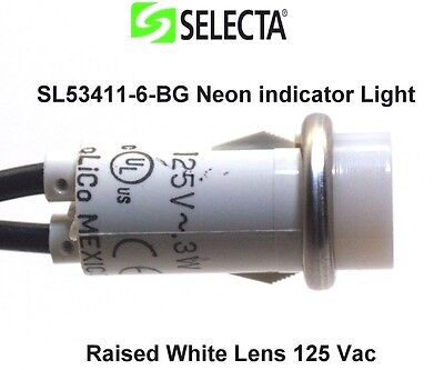 3x Selecta SL53411-6-BG Neon indicator Light Raised White Lens 125 V ac total 3
