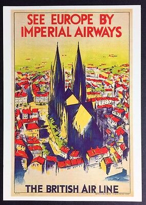 EUROPE BY IMPERIAL AIRWAYS Reproduction POSTCARD Poster AIRLINES Travel DGA 4