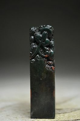 Delicate Chinese rock stone hand carved beast seal oo10
