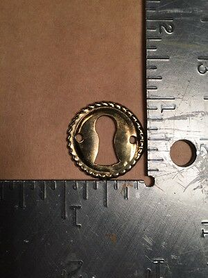 One Vintage brass keyhole key hole cover Escutcheon