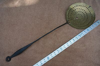 "Wrought Iron and Brass Hearth / Kitchen SKIMMER - Circa 1850 - LARGE 27"" Long"