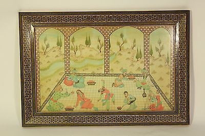 Vtg Lrg Celluloid Painted Khatam Inlaid Marquetry Persian Frame Art Plaque Tray