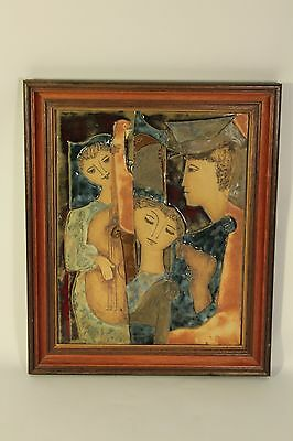 Vtg Ruth Faktor Ceramic Art Pottery Lrg Relief Painting Tile of Musicians Signed