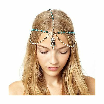 VINTAGE BOHEMIA FOREHEAD TURQUOISE Faux Pearl Hair Crown Headbands Accessories