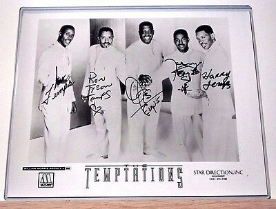 THE TEMPTATIONS AUTOGRAPHED 8x10 GLOSSY PHOTO HAND SIGNED BY 5 w/ COA MOTOWN