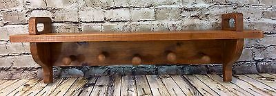 Vintage Wood Antique Stained Coat Hat Rack Mid Century