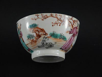 """Antique 18th Century Chinese Famille Rose Mandarin Cup Bowl Dog and Owl 3.5"""""""