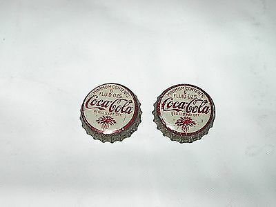 Two 2 Used Metal Sc Tax Stamp  Coke Coca Cola  Cork Lined  Soda  Bottle Cap .