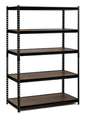 Edsal D 5-Shelf Steel Commercial Shelving Unit in Black No Corrosion & Chipping