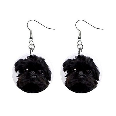New Cute Funny BRUSSELS GRIFFON Face Dog Puppy Lovers Gift Dangle Metal EARRINGS