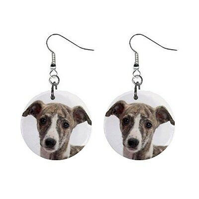 New Cute Funny WHIPPET Face Dog Puppy Lovers Gift Dangle Metal EARRINGS Jewelry
