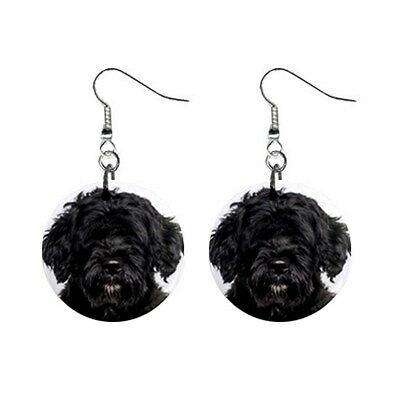 Cute Funny PORTUGUESE WATER DOG Face Dog Puppy Lovers Gift Dangle Metal EARRINGS