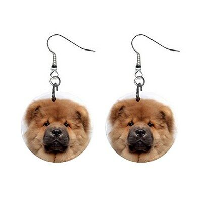 Cute Funny CHOW CHOW Face Dog Puppy Lovers Gift Dangle Metal EARRINGS Jewelry