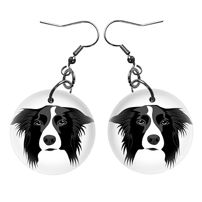 New Cute Funny BORDER COLLIE Face Dog Puppy Lovers Gift Dangle Metal EARRINGS